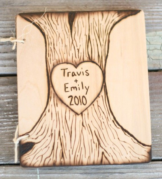 Rustic Engraved Tree Guest Book Personalized by braggingbags, $59.99