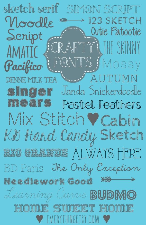 25 Crafty Fonts {free}...perfect for your next project! #diy #craft #font