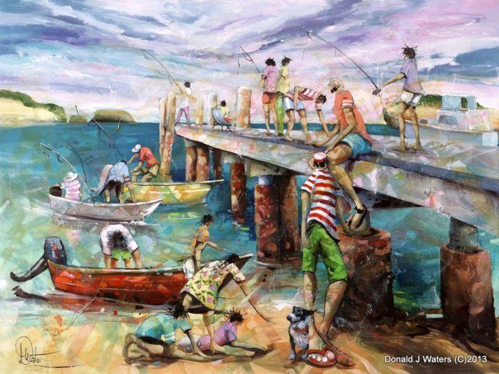 """Shy Boy"" original acrylic on canvas 55x1000mm Donald J Waters, buy from Landsborough Galleries $4200"