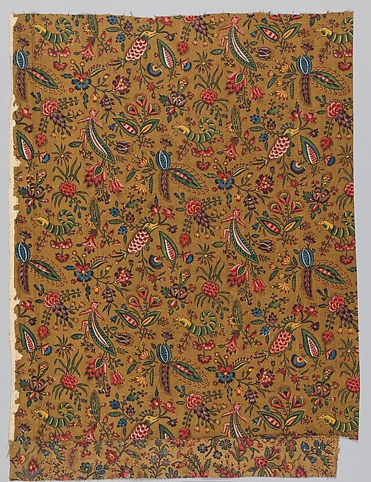 Les coquecigrues, fragment de coton imprimé à la planche de bois, 1792. Indiennes et animaux fantastiques. Conservé au Met, New York, 27.195.3.