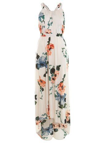 Floral Ruched Strap Maxi