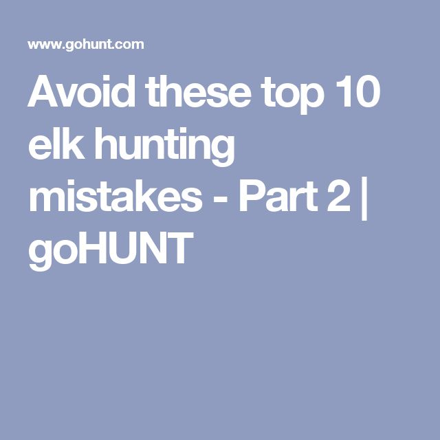 Avoid these top 10 elk hunting mistakes - Part 2 | goHUNT