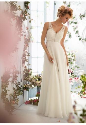 Robe de mariée empire mousseline dentelle perles col V