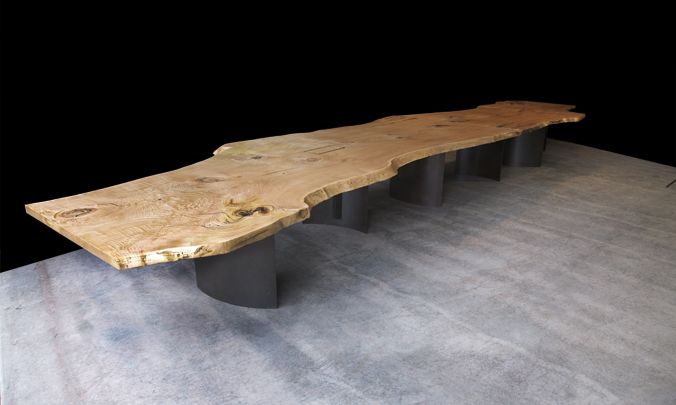 28 Feet Long Conference Table Made From Two Live Edge