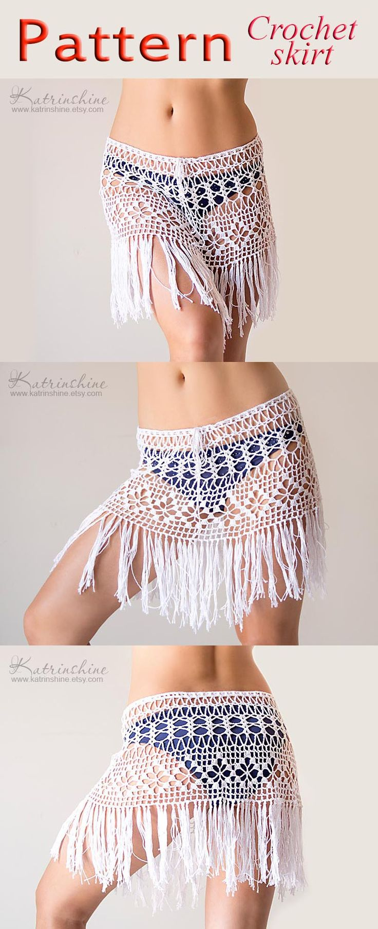PATTERN Crochet beach fringed skirt lacy boho skirt PDF