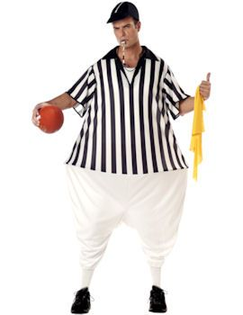 This Hooped Referee Fancy Dress Costume Includes bodysuit with hoop cap whistle and penalty flag