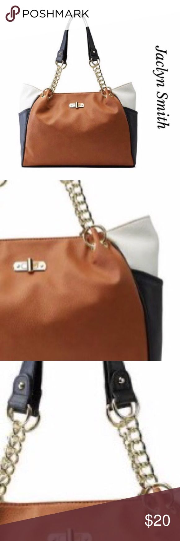 🎉1D SALE🎉COLOR BLOCK WOMEN SATCHEL PURSE🎀 Gorgeous Jaclyn Smith Color Block Satchel purse. Featuring three colors cream, black and carmel color. Chain straps and metal rings accents.  Magnetic closure. Faux leather. Jaclyn Smith Bags Satchels