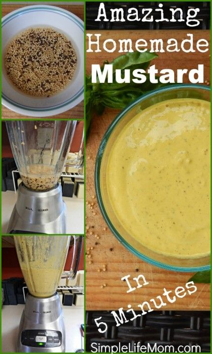 Homemade Mustard Recipe - Fresh mustard in 5 minutes. Make it spicy, honey, or just make yellow mustard. From Simple Life Mom