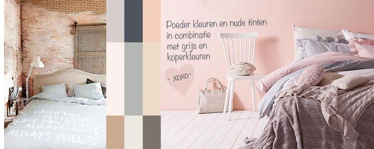 Trendkleur voor het interieur van 2013, poeder kleuren en nude tinten in combinatie met grijs en koper. - Makeithome.nl