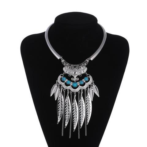 Vintage Leaves Tassel  Choker Necklace
