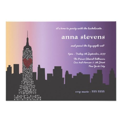 Personalized Skyline Wedding Invitations: New York City At Night (Sleepless In Seattle) Bachelorette