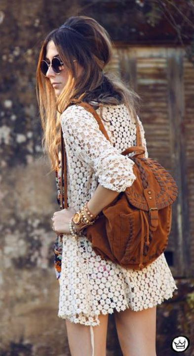 camel bag    Flavia  and that crochet top