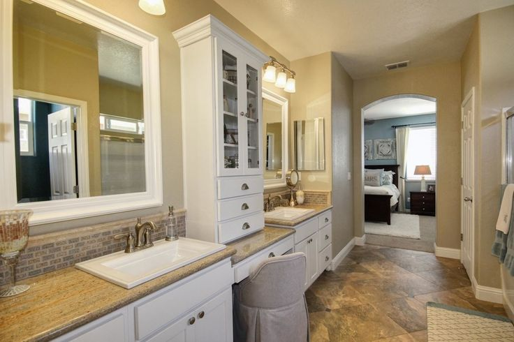 """Traditional Master Bathroom with Kohler K-2337-8-47 Almond Memoirs Stately 17"""" Drop In Bathroom Sink with 3 Holes Drilled"""