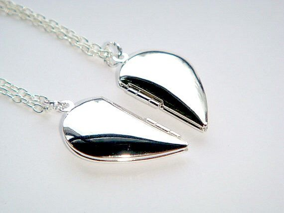 TWO Silver Half Heart Locket Necklace Set - Friendship Necklaces - Pair of Hearts - Best Friend Lockets - Split Heart - Best Friend Jewelry by BellaAniela on Etsy https://www.etsy.com/listing/180624018/two-silver-half-heart-locket-necklace