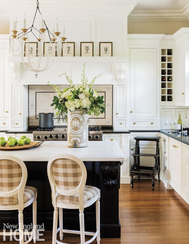 traditional kitchen with gingham fabric counter stools, antiques    | Jackie Whalen | New England Home Magazine
