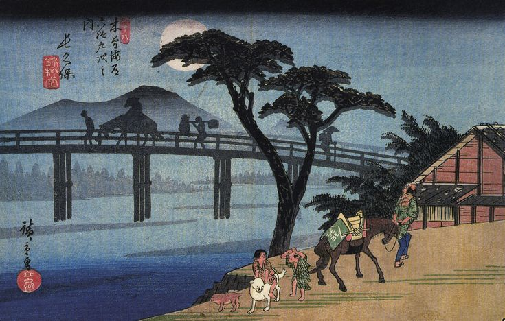 https://upload.wikimedia.org/wikipedia/commons/3/36/Hiroshige_Man_on_horseback_crossing_a_bridge.jpg