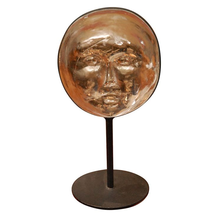 Erik hoglund glass and metal stand face sculpture for boda