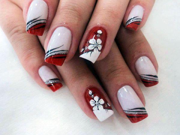 Unhas Decoradas BR Unhas Decoradas em Branco e Vermelho com Flores