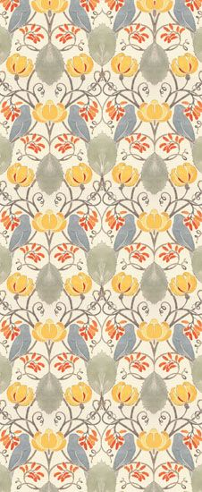 """The Blue Bird"" WALLPAPER is a cheery pattern of birds and fruiting vines forming a protective arbor of hearts. This CFA Voysey design is 21"" wide with a self-matching 31 1/2"" repeat. A single 6 yard roll is approximately 30 square feet. Rolls are shipped on multi-roll bolts and are untrimmed. {Trustworth}"