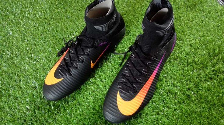 Chaussures Nike Mercurial Superfly V FG Noir Orange Type de pieds : pieds fins Terrain de pratique : Pelouse synthétique Type de crampons de la chaussure : FG (Firm Ground) Empeigne : Flyknit