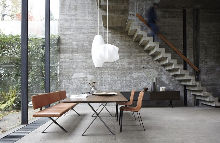 Concrete, glass, and #Modernica pendant lamps. We'll take it!