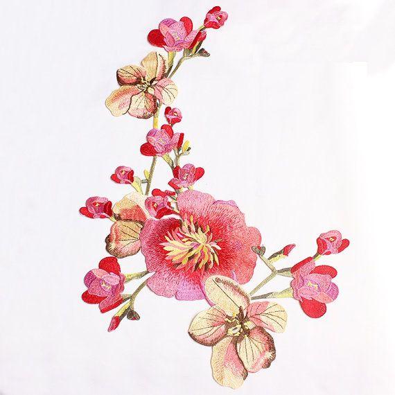 Delicate geborduurde bloem stoffen Patch, Vintage bloemen Patch voor kleding of jurk decoratie borduurwerk Appliques