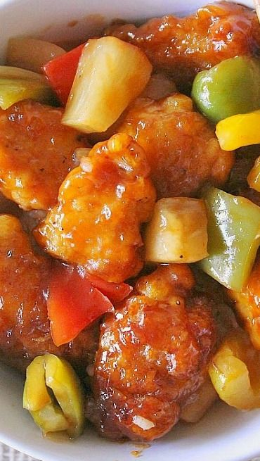 Baked Sweet  Sour Chicken I increased the sauce by 1/2. Be careful not to increase the vinegar. Add extra water instead.