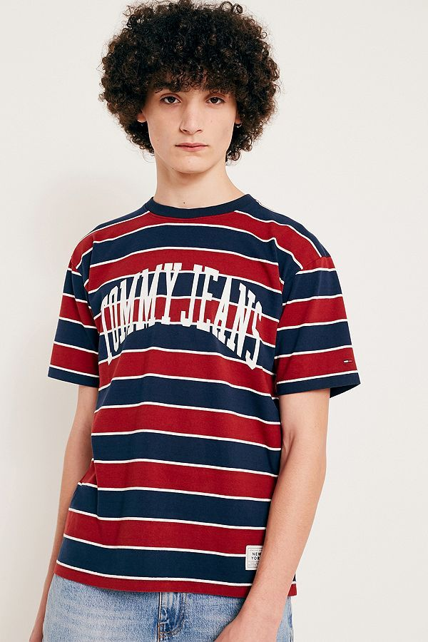 5339030bc Tommy Jeans Merlot Striped Logo T-Shirt   want   Shirts, Jeans, T shirt