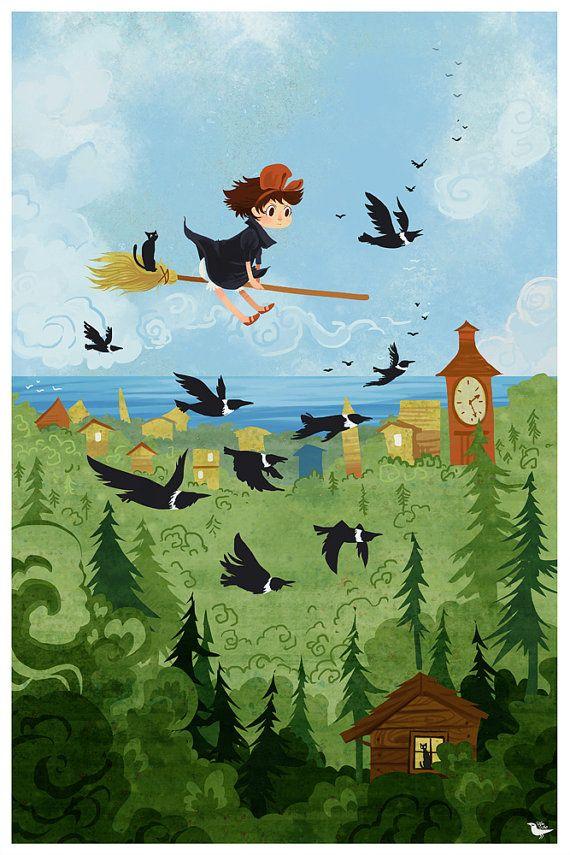 Kiki Over the Forest 8x12 mini poster print by theGorgonist, $12.00 | Everything Miyazaki | Pinterest | Studio ghibli, Ghibli and Studio ghibli art