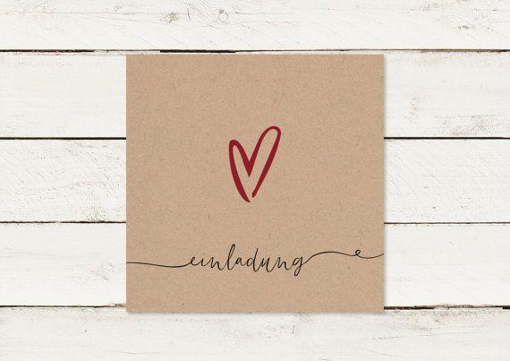 Hochzeitseinladung Kraftpapier Quadrat Herz von lilalaunedesign