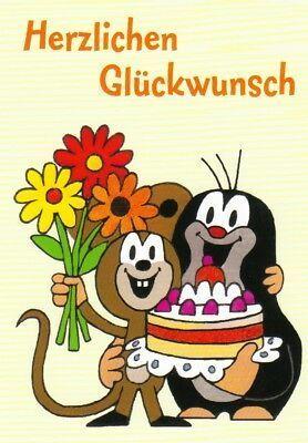 Postkarte: Der kleine Maulwurf gratuliert der Maus zu einem Kuchen – Geschenk …   – Eventplanung