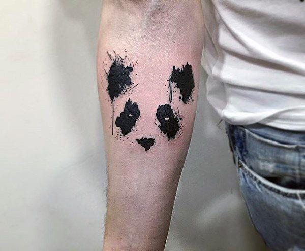 Negative Space Tattoos For Men Of Panda Bear Watercolor ...