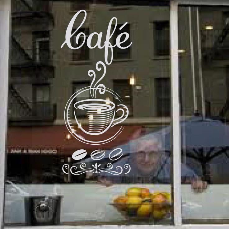 CAFE COFFEE SHOP - Frosted Vinyl Window Art Sticker - Reverse cut