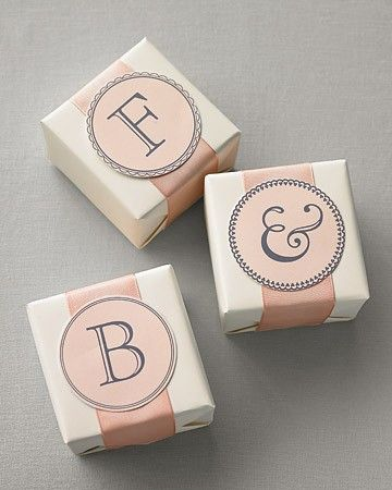 Send guests home with favor boxes made specially for them. Print elegant monograms on adhesive or regular paper and cut out with a 3-inch circle punch.Print the Monogram Clip Art