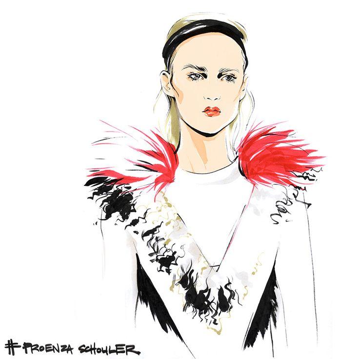 Алена Лавдовская в 30 иллюстрациях запечатлела для Vogue самые яркие моменты Недели моды в Нью-Йорке.