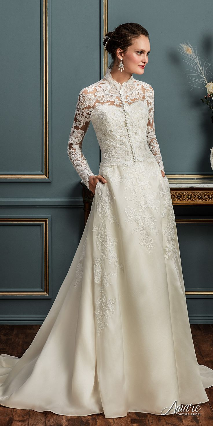 amare couture spring 2017 bridal long sleeves high neck heavily embellished bodice elegant conservative a  line wedding dress with pockets covered lace back chapel train (aurelia) mv fv -- Amaré Couture Spring 2017 Wedding Dresses