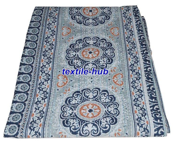 Indian Handmade Kantha Quilt Bedspread Vintage Cotton Cotton Blanket Gudri Queen #Handmade #AsianOriental