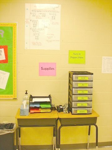student supply area in a high school classroom...love the turn in area!