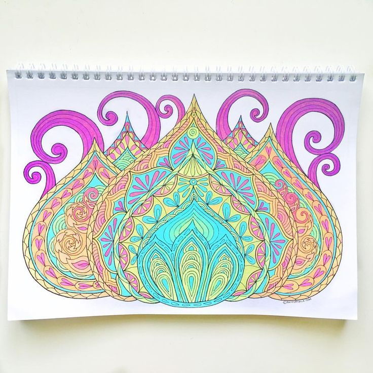 "Mental Images Coloring Books (@paivivesala_art) on Instagram: ""This is colored with only two rainbow gel pens! * Coloringbook: Mielikuvia / Mental Images vol 1.…"""