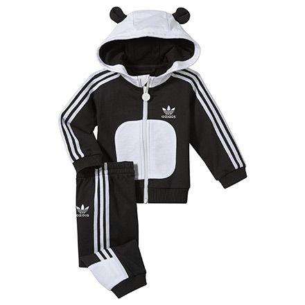Enfants Survêtement à capuche Panda Flock, black / white, pdp