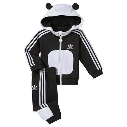 Kids Hooded Flock Panda Track Suit, black / white, pdp
