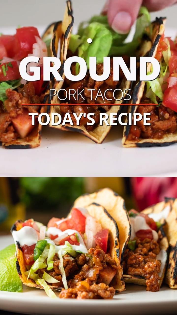 Ground pork tacos video in 2020 ground pork tacos