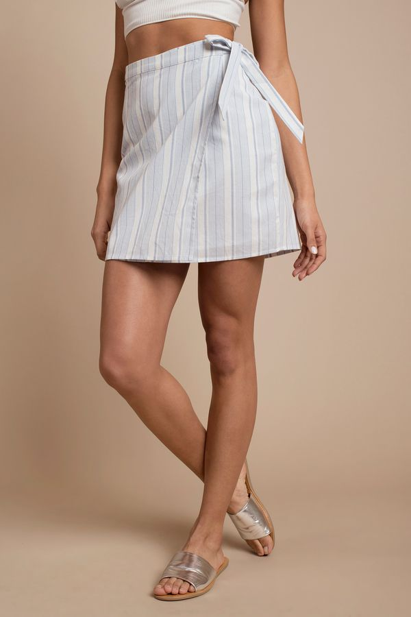 87d95a1100 You have to have It's A Wrap Striped Print Skirt. Featuring a wrap style and