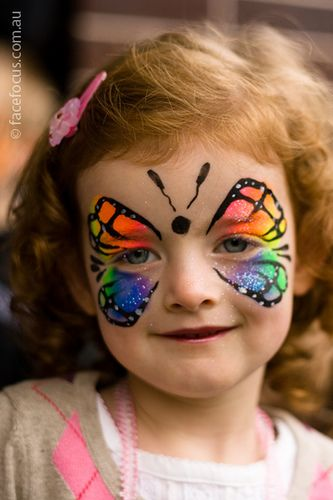 facepaint butterfly. love the rainbow,I gotta get me some rainbow cakes!