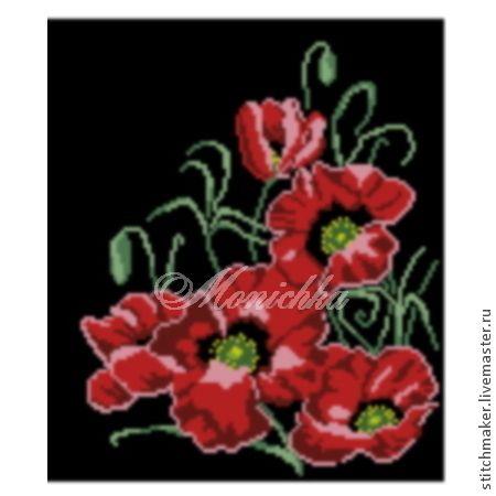 """Купить Схема вышивки бисером Бв-002 """"Маковая страсть"""" - красный маки, цветы красный"""