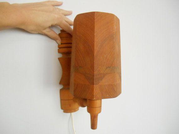 Scandinavian lamp set Vintage wooden lamp Set of 2 Handmade wall lamp Wall lighting Rustic wood lamp Swedish wood lamp 74