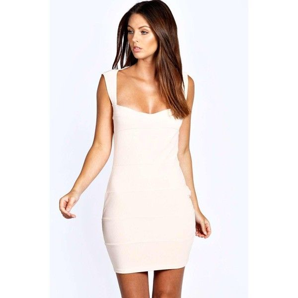 Boohoo Night Candy Bodycon Dress ($35) ❤ liked on Polyvore featuring dresses, nude, night out dresses, bodycon cocktail dress, nude dress, cocktail party dress and short dresses