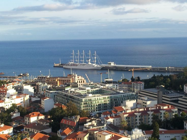Funchal harbour. The square building is where The Vine Hotel is located.