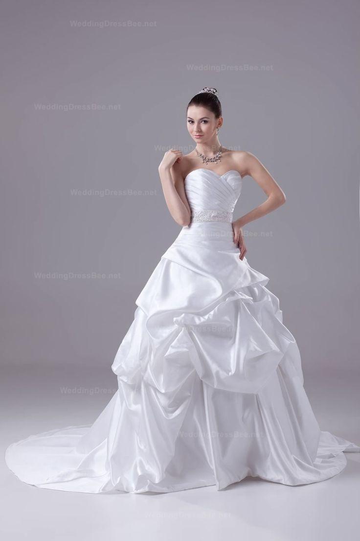 Sweetheart Overall Pleats And Bubble Chapel Train Wedding Dress