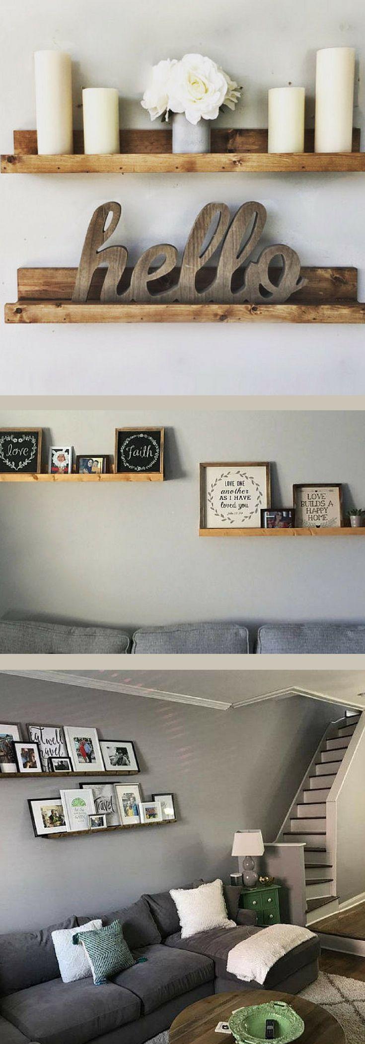 Ledge Style Shelf for Pictures or Books - Floating Shelves, Wall Shelf, Picture Ledge Shelf, Gallery Shelf, Nursery, Bookshelf, Modern Farmhouse Decor, Rustic Decor, Fixer Upper Decor, Rustic Farmhouse, Farmhouse Fixer Upper, Gallery Wall, Book Ledge, Wooden Wall Shelf, Display Shelf, Display Ledge #ad